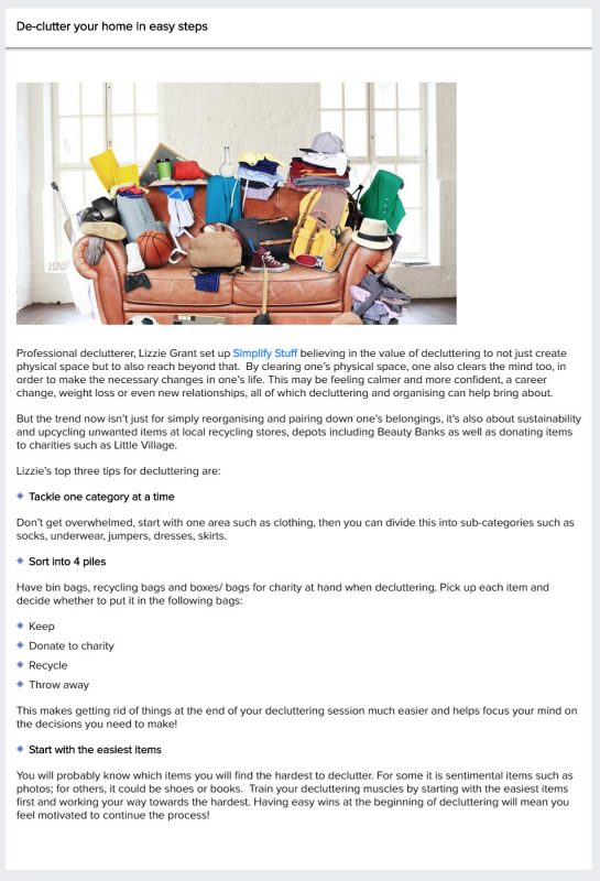 Article in The Lady - De-clutter your home in easy steps