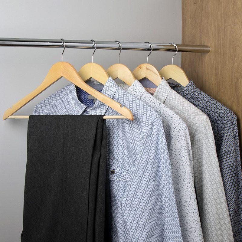 Wooden Hangers With Non Slip Trouser Bar Simplify Stuff